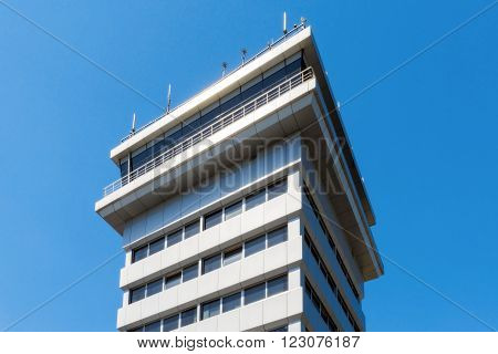Ukraine, Borispol - MAY 22 : Control tower at Borispol International Airport on May 22, 2015 in Borispol, Ukraine ** Note: Soft Focus at 100%, best at smaller sizes