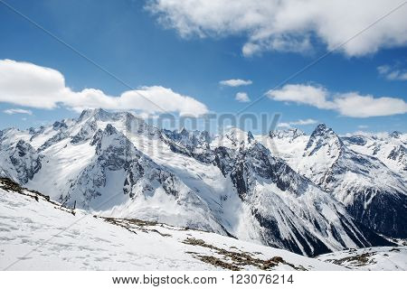 Beautiful landscape of the Caucasus Mountains Dombai on winter resort