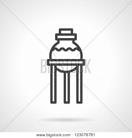 Round flask bulb with liquid on a burner rack. Laboratory glassware. Chemistry and pharmacy. Science and educational research. Vector icon black line style. Design element for website, business.