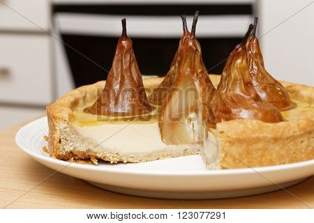 Pear Cake With Cream Butter And Jelly With Cut Off Pieces