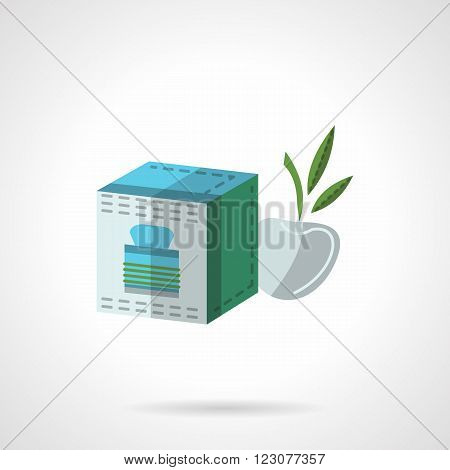 Gray box with green elements and abstract apple with leaves. Fruit tea pack. Organic food and drink. Vector icon flat color style. Web design element for site, mobile and business.