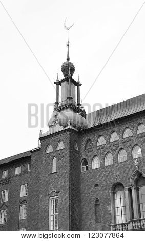 Stockholm City Hall in Sweden. Black and white.