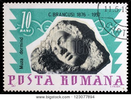 ZAGREB, CROATIA - JULY 19: a stamp printed in Romania shows Sleeping muse by Constantin Brancusi, circa 1967, on July 19, 2012, Zagreb, Croatia
