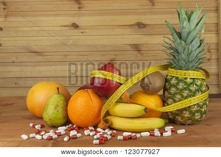 Fruit diet. The concept of healthy diet food. Diet for athletes. Reduced weight through a healthy diet.