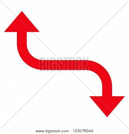 Opposite Bend Arrow vector icon. Style is flat icon symbol, red color, white background.