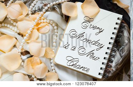 Every Monday is a New Chance inspirational quotes lettering for postcards business ideas announcements write a note with beautiful handwriting of a female hand notebook. wooden background