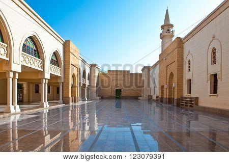 Riyadh, Saudi Arabia - November 18, 2008:  Perspective view of the courtyard of the Murabba Palace mosque.
