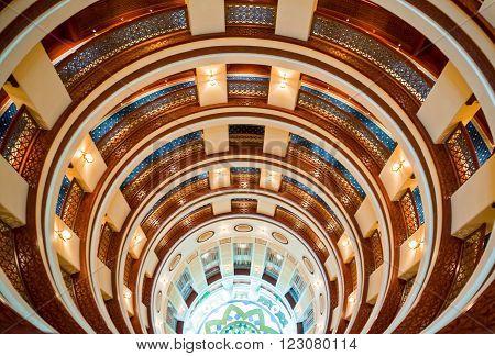 Jeddah, Saudi Arabia - November 20, 2008: The stairwell of a hotel in the Corniche area