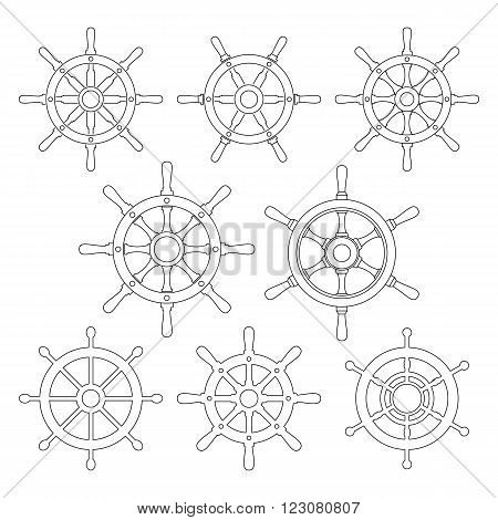 Ship's wheels vector icons set. Collection of 8 thin line icons of boat's steering wheels. EPS8 illustration.