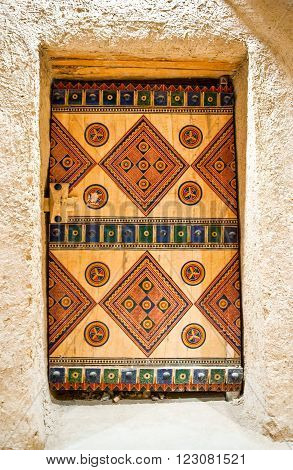 Riyadh,  Saudi Arabia - November 29, 2008: Detail of a door in the inside of the Masmak Fortress (XIX century) in the old city center.