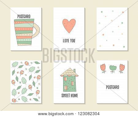 Cute hand drawn doodle birthday party baby shower cards brochures invitations postcards with cupheart polka dots leaves flowers house.