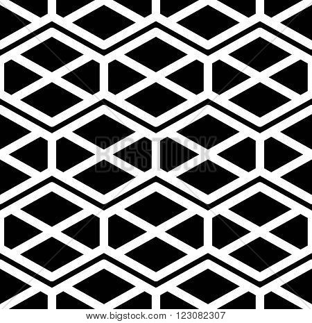 Black and white abstract ornament geometric seamless pattern. Symmetric monochrome vector textile backdrop. Intertwine rhombs and hexagons.