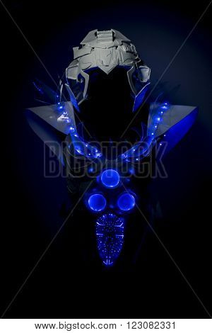 science, robotic spacesuit with blue lights and transparent sheets, futuristic armor