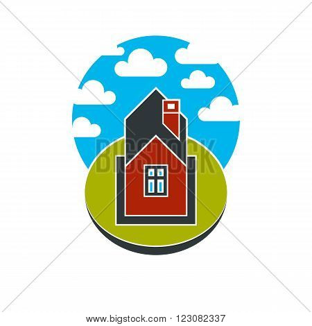 Simple house vector illustration countryside idea. Abstract image of a building over beautiful landscape with blue sky and fluffy clouds. Real estate theme.