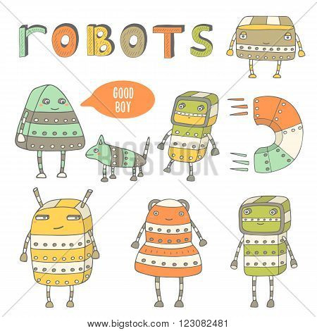 Cute hand drawn doodle steam punk robots collection. Robots characters icons set