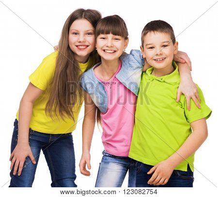 three happy children embrasing each other