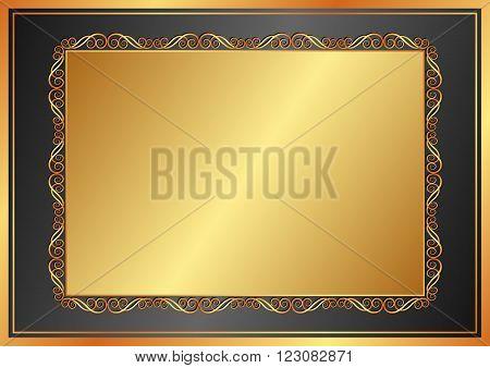 golden background with vintage frame - vector illustration