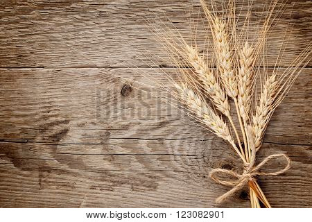 Bunch of wheat ears on wooden background