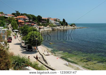 NESSEBAR BULGARIA - JULY 17: Seaside on July 17 2015 in old town of Nessebar Bulgaria. Ancient city of Nessebar is a UNESCO world heritage site.