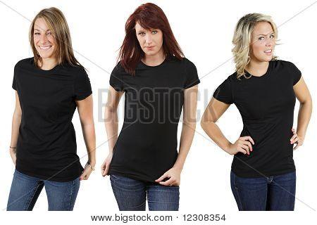 Young Women With Blank Black Shirts