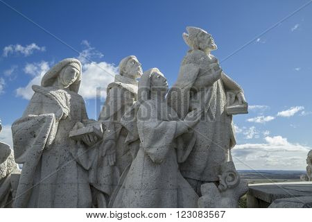 Praying.Cerro de los Angeles is located in the municipality of Getafe, Madrid. It is considered the geographic center of the Iberian Peninsula