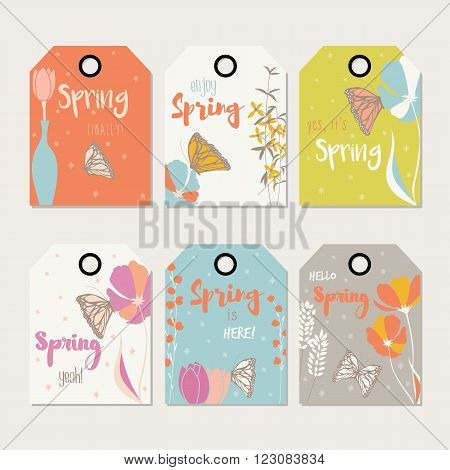 Spring floral gift tag design with hand drawn flowers floral elements vases and monarch butterflies vector illustration