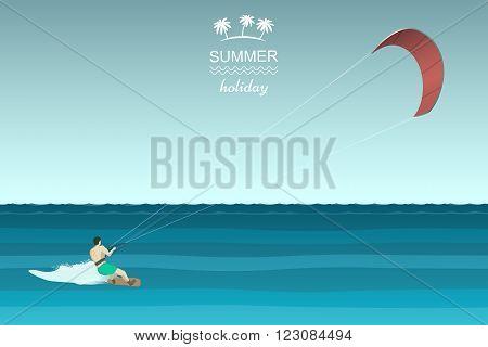 Kitesurfing retro illustration. Man riding wakeboard with kite.