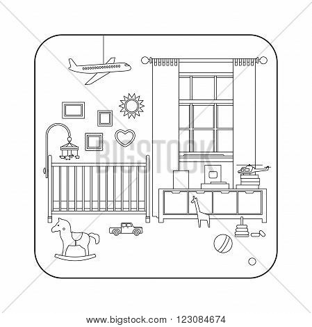 Baby room interior. Vector line illustration of nursery with furniture and toys.