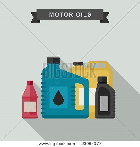 Motor oils icon in flat style. Vector simple illustration of different canisters with engine oil.