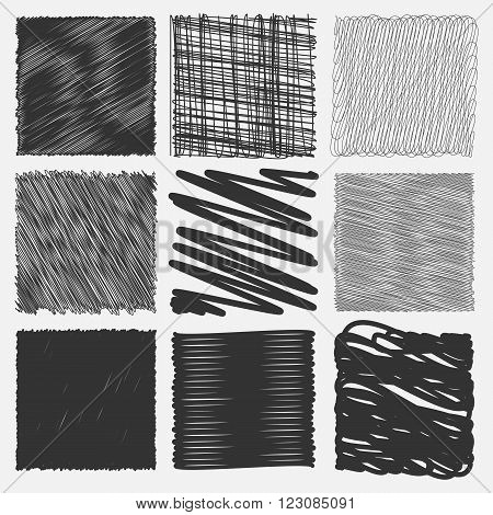 Collection of backgrounds with linear doodles. Black and white pattern with hand drawn lines. Abstract squiggly minimal lines entangled set. 9 unique backgrounds to entangled thin and bold lines.