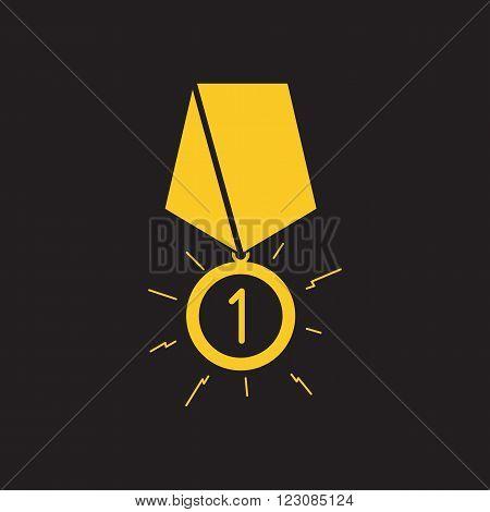 Gold medal. Gold medal on the black background. Isolated gold medal. Gold medal for first place.