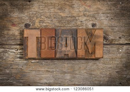 Team, single word set with vintage letterpress printing blocks on rustic wooden background