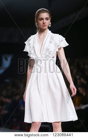 ZAGREB, CROATIA - MARCH 17, 2016: Model wearing clothes designed by Aman on the Bipa Fashion.hr fashion show in Zagreb, Croatia. Aman is fashion designer Martina Budek.