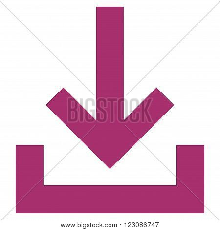 Inbox vector icon. Style is flat icon symbol, purple color, white background.