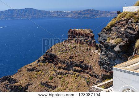 View on cliff Scaros and caldera of Santorini island, Greece