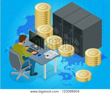 Flat 3d isometric man on computer online mining bitcoin concept. Bitcoin mining equipment. Digital Bitcoin. Golden coin with Bitcoin symbol in electronic environment