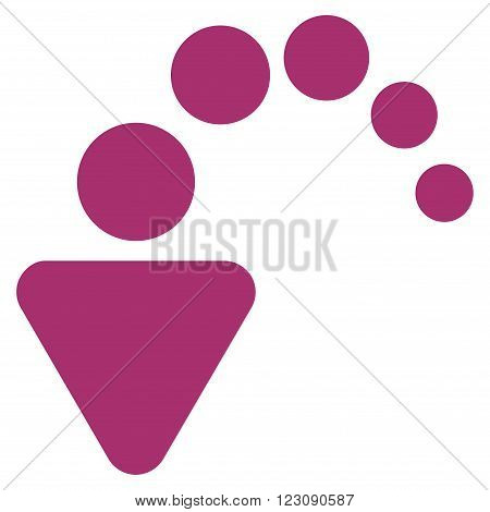 Undo vector icon. Style is flat icon symbol, purple color, white background.