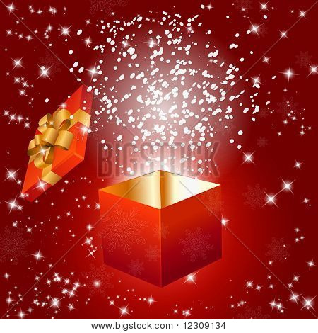 Abstract Red Background With Gift Box And Snowflakes