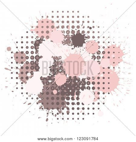 Set of ink blots and halftones dots patterns in pink and brown colors. Rose quartz tint collection.