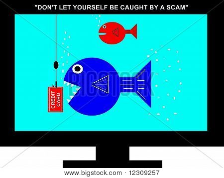 Television Screen Scam Concept