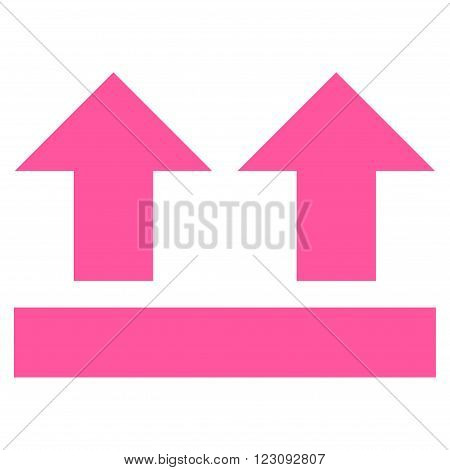Bring Up vector icon. Style is flat icon symbol, pink color, white background.