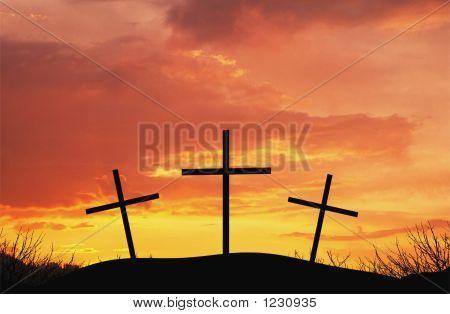 drei Kreuze auf Top af-Hügel