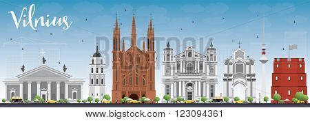 Vilnius Skyline with Gray Landmarks and Blue Sky. Vector Illustration. Business Travel and Tourism Concept with Historic Buildings. Image for Presentation Banner Placard and Web Site.