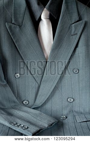 double-breasted pinstripe gray suit or mens sport jacket and shirt with necktie
