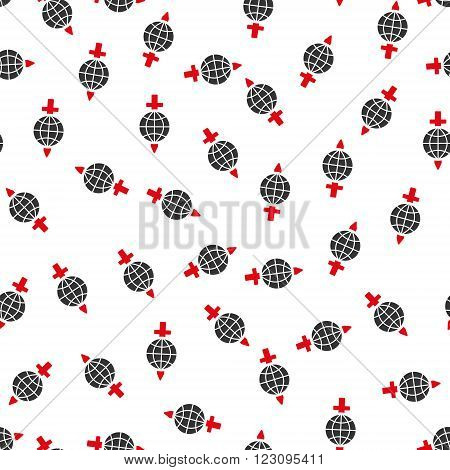 Global Sword Safety vector seamless repeatable pattern. Style is flat red and dark gray global sword safety symbols on a white background.