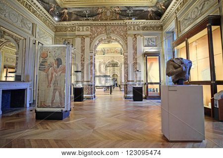 Paris, France, February 10, 2016: interior of hall of antiquity in Louvre, Paris, France