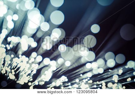 Tech, Fiber optic cables, fibre connection, telecomunications concept.
