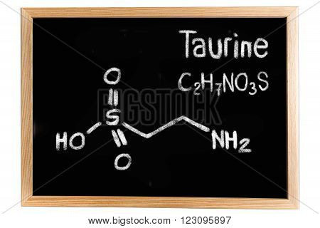 Blackboard with the chemical formula of Taurine