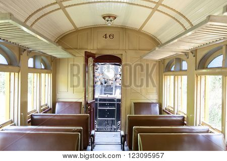 CAMPINAS, SP/BRAZIL AUGUST 30 2015: Inside view of vintage train wagon in Campinas parked at station
