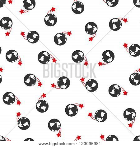 Rising Satellite on Earth vector seamless repeatable pattern. Style is flat red and dark gray rising satellite on earth symbols on a white background.